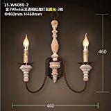 CJLOVE Indoor Fashion Vintage LED Logs Bügeleisen Massivholz Dual Head Kerzen Wandleuchten für Wohnzimmer Esszimmer Schlafzimmer