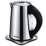 Aicok Edelstahl Wasserkocher mit Temperatureinstellung 40-100 Grad,2200 Watt und 1,7 Liter,Schwarz