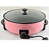 Elektrische Pfanne Ø 42/9cm Pizzapfanne Partypfanne Elektropfanne Bratpfanne (Pink)