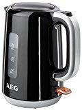 AEG PerfectMorning EWA3300 Wasserkocher (2200 Watt, 1,7 Liter, beidseitige Wasserstandsanzeige, entnehmbarer und abwaschbarer Kalkfilter, tropffreier Ausguss, Abschaltautomatik, BPA-frei) Schwarz