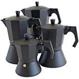 Oxid7® Italienischer Espressokocher Espresso Mokka Maker Aluminium für 3/6/9/12 Tassen Espressomaschine schwarz für Induktion geeignet