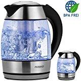 Wasserkocher Teekocher Edelstahl Kocher Edelstahl-Glas-Wasserkocher ohne Teesieb kabellos 1,8 Liter 2200 Watt