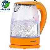 Wasserkocher 1,7 L orange Teekessel Teekocher 2200 W LED Innenbeleuchtung 360° kabellos